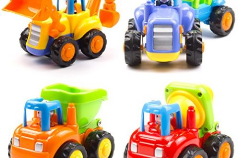Huile Push and Go Friction Powered Car Toys Set Tractor Bulldozer Mixer Truck and Dumper for baby toddlers