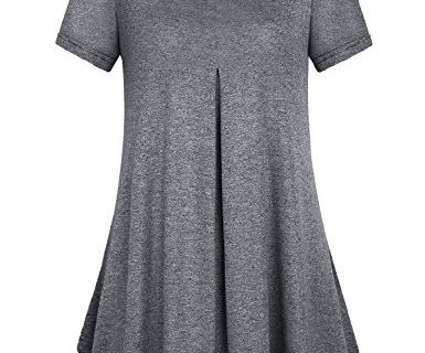 Women Shirts and Blouse BlevonH Ladies Short Sleeve Scoop Neck Pleated Flowy Flare Loose Fitting Tops Tunic Medium Black