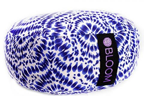 Adjustable Buckwheat Hull Fill, Premium Cotton, Removable Washable Case, Carry Handle, Zipper Shibori Blue – BLOOM Zafu Meditation Pillow Cushion, Round Yoga Bolster