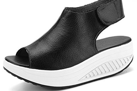 Paris Hill Women's Platform Heeled Bootie Shoes Shape Ups Walking Wedges Sandals 04PHS002 Black 5.5