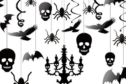 Kuuqa Halloween Hanging Decorations Ceiling Decoration of Chandelier Bat Crow Spider Skull for Haunted House Decoration, Set of 20