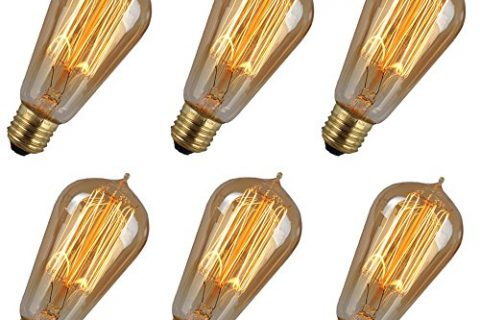 6 Pack 59wE26 ST64 Vintage Edison Bulb, Squirrel Cage Filament Clear Glass Light Lamp Bulb