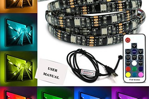 Yoland Bias Light TV Backlight LED Strip Light Kit 6.56ft/2m USB Powered Waterproof Neon Accent with RF Wireless Remote Control for HDTV Flat Screen Desktop PC Theater, Multi Color