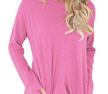 14  Pink – ROSKIKI Women's Casual Round Neck Pockets Long Sleeve Pullover Sweatshirt T Shirt Tops Tunics US  12