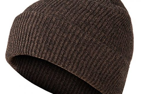 GLOUE Slouch Beanie Winter Ski Baggy Hat Unisex Various Styles Unisex Cuffed Plain Skull Beanie Toboggan Knit Hat/Cap Brown