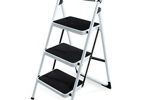 Ohuhu 3 Step Ladders, Steel Frame Folding Step Stool, Portable Ladder with Hand Grip & Tool Bag, 330-Pound Capacity