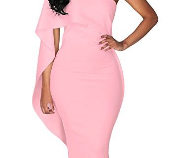 Dokotoo Womens Plus Size Short Sleeve One Off Shoulder Blackless Party Evening Midi Bodycon Pencil Dresses Pink Small