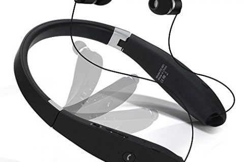 Dostyle Bluetooth Headset Wireless Neckband with Retractable Earbuds Bluetooth Headphones Black