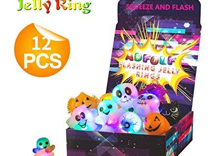 Flashing Light Up Ring Toys LED Finger Lights 12 Pack Party Favor Halloween Christamas Themed Rings