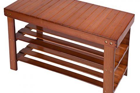 Fibevon 100% Natural Bamboo Shoe Bench 2-Tier Shoe Storage Racks Shelf Organizer