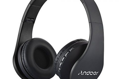 Over Ear Headphone, Andoer LH-811 Wireless Stereo Bluetooth 4.1 Earphone Headset Mic MP3 Player TF Music FM with 3.5mm Audio Cord for Smart Phones Tablet PC NotebookBlack