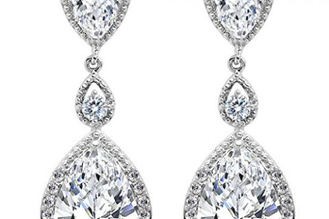EVER FAITH Silver-Tone Full Cubic Zirconia December Birthstone Tear Drop Dangle Earrings Clear