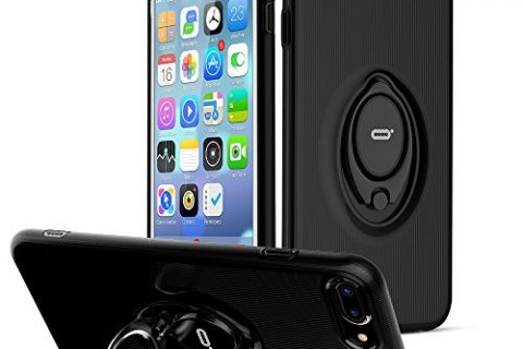 iPhone 7 Plus Case with Ring Holder Kickstand by ICONFLANG, 360 Degree Rotating Ring Holder Grip Case for iPhone 7 Plus, Ultra Slim Thin Hard Protective Case for iPhone 7 Plus – Black