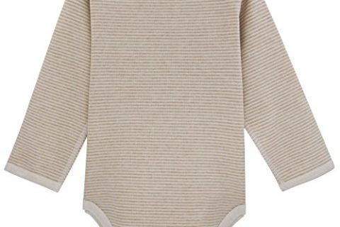 Dababe Unisex Baby Long Sleeve Cotton Bodysuit Beige+Brown Stripes, 0-3 months