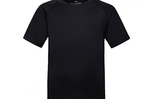 Trailside Supply Co. Big Boys' Quick-Dry Active Sport Short Sleeve Compression Baselayer T-Shirt, Black, 12