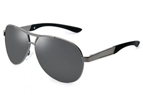 Joopin Fashion Men's Polarized Sunglasses Driving Aviator Man Sun GlassesGrey Frame Black Lens