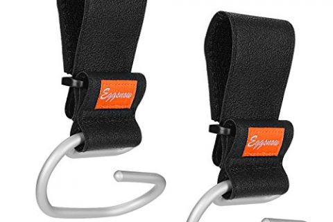 Eggsnow Stroller Hooks2 Pack,Adjustable Handy Stroller Hanger Universal Stroller Hook Clip,Durable for Purse/Shopping/Accessories,Aluminum-Black