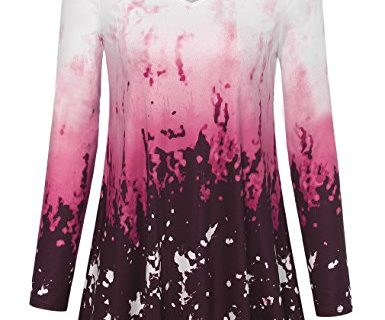 Long Blouse Tops,Laksmi Womens Autumn Casual Tie Dye Ombre Long Sleeve V Neck Flowy Tunic Tops,Wine Large