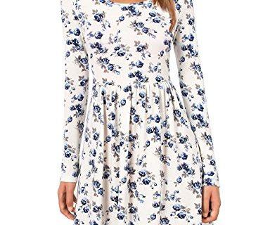 Floral Dress,MOOSUNGEEK Women's Scoop Neck Pleated A line Swing Casual Mini Dress Blue Flower S