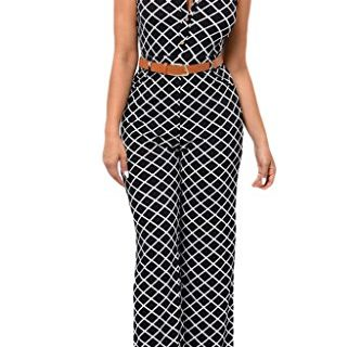 HOTAPEI Women Button Belted Sleeveless Wide Leg Jumpsuit Small Circle Print