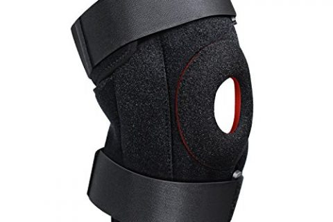 Knee Brace, FOKEY Knee Sleeve : Compression Adjustable Knee Support Strap, Open Patella Protector Wrap for Pain Relief, Arthritis, ACL, Sports and Injury Recovery, Breathable Neoprene Sleeve – Single