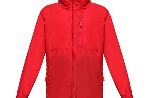 Trailside Supply Co. Big Boys' Water-Resistant Nylon Windbreaker Front-Zip Up Jacket, Mars Red, 8