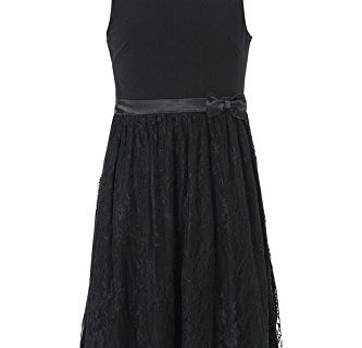 Emma Riley Girls' Knit and Lace Combo Party Dress 4 Black