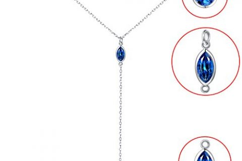 925S Sterling Silver Double Layered Chain Necklace for Lady Women Y Shape Necklace Blue CZ