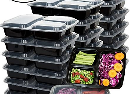 Meal Prep Containers 20 Pack 3 Compartment Food Storage Container with Lids-Microwave,Dishwasher Safe,Reusable-Portion Control Plates,21 Day Fix+20 Cutlery36oz
