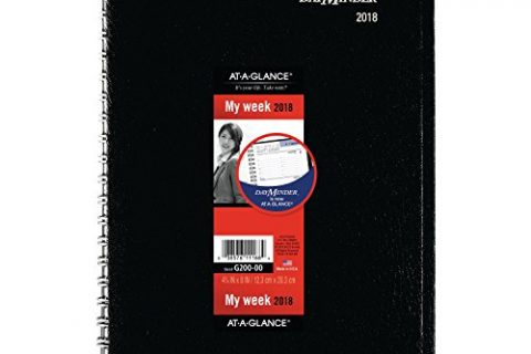 December 2018, 4-7/8″ x 8″, Black G20000 – AT-A-GLANCE DayMinder Weekly Appointment Book / Planner, January 2018