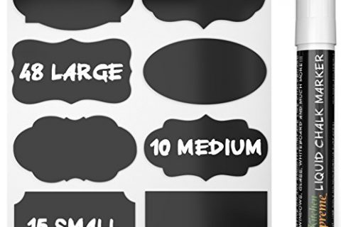 Chalkboard Labels Complete Bundle: 73 Premium Stickers for Jars + Erasable White Chalk Marker. The BEST Large and Reusable Chalkboard Labels + Liquid Chalk Pen to Decorate Your Pantry Storage & Office