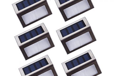 Lightess Solar Stair Lights Outdoor LED Step Lighting 2 LEDs Stainless Steel For Steps Paths Patio Decks Pack of 6