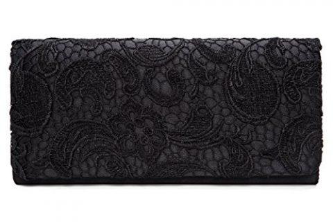 Chichitop Women's Elegant Floral Lace Evening Party Clutch Bags Bridal Wedding Purse Handbag,Black