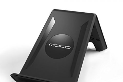 MoKo Wireless Charger with AC Adapter, 3 Coils Charging Pad Stand for Samsung Galaxy S8 / S8 Plus / S7 / S7 Edge / S6 / S6 Edge / S6 Edge Plus / LG G3, All Qi-Enabled Devices, Black
