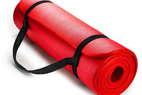 HemingWeigh 1/2-Inch Extra Thick High Density Exercise Yoga Mat with Carrying Strap Red