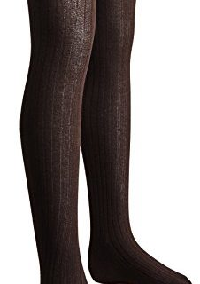 Sportoli Girls Ribbed Cotton Hold and Stretch Footed Winter Sweater Tights – Brown size 8/10