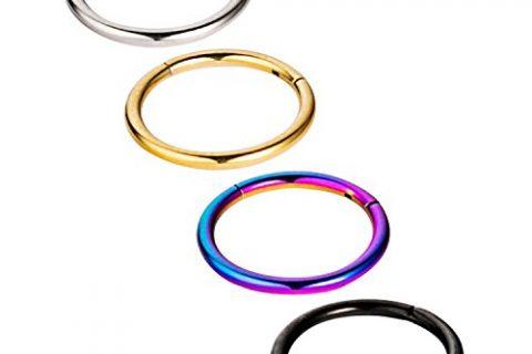 Vcmart 4Pcs 16G Hinged Seamless Segment Hoop Septum Clicker Ring