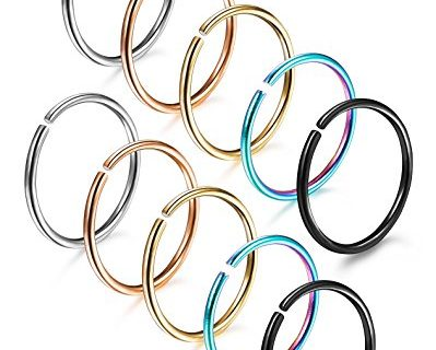 FUNRUN JEWELRY 10PCS 18G Stainless Steel Hoop Nose Ring for Girls Men Body Jewelry Piercing Tragus Lip Rings 8mm