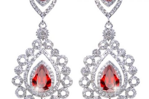 EVER FAITH Rhinestone Crystal CZ Vintage Style Teardrop Chandelier Earrings Ruby Color Silver-Tone
