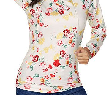 ZKESS Womens Long Sleeve Pullover Hoodies Casual Loose Floral Print Sweatshirt Tops Yellow Large Size