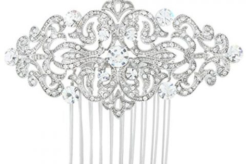 EVER FAITH Art Deco Wave Bridal Hair Side Comb Clear Austrian Crystal Silver-Tone