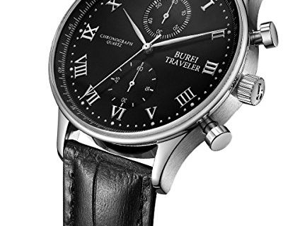 BUREI Casual Dress Chronograph Watch Roman Numeral Analog Quartz Stopwatch with Black Leather Band