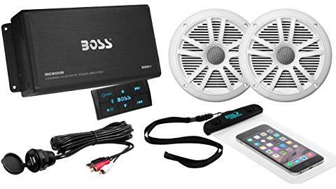 BOSS Audio ASK902B.6 Marine 500 Watt 4 Channel Amplifier / 6.5 Inch Speaker Bluetooth System, Bluetooth Remote, USB Auxiliary Interface Mount, Waterproof Pouch