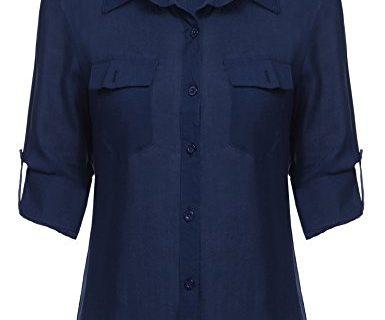 SE MIU Women's Button Down Long/Short Sleeve Office Shirt, Navy Blue, XXL
