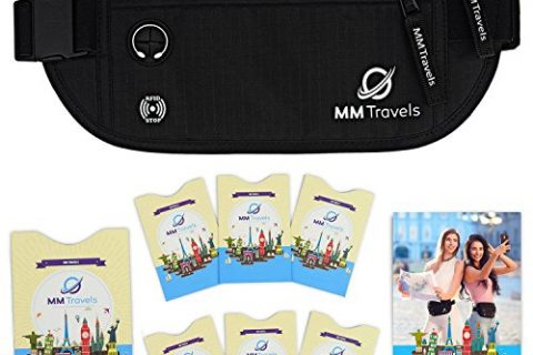 Travel Money Belt with RFID Blocking Waterproof Fabric Bundle Sleeves Set for Cards and Passport