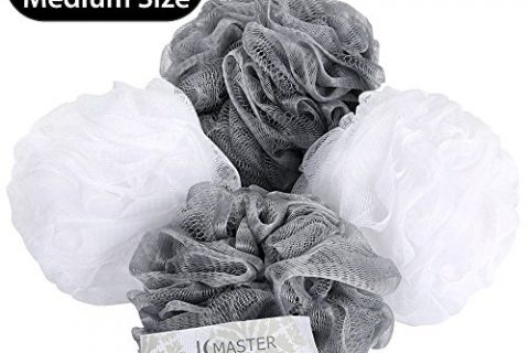 JCMASTER Bath Shower Sponge Pouf Loofah, White and Grey Shower Scrubber Exfoliating Luffa Pouf, 65g, 4 Pack