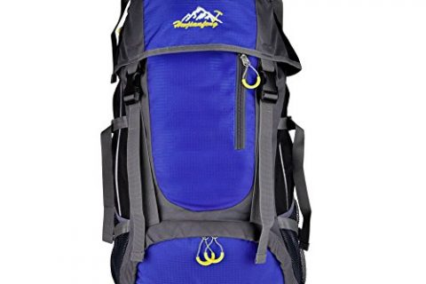 Vbiger Large Capacity Lightweight Travel Water Resistant Backpack / Mountaineering Hiking Daypack Blue, 55L