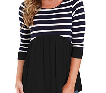 HOTAPEI Womens Tops Casual Contrast 3 4 Sleeve Striped Round Neck Shirts Blouse Black Small