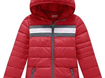 Wantdo Girl's Lightweight Packable Puffer Down Jacket Hooded Windproof Color Block Winter CoatsOriental Red, 10/12