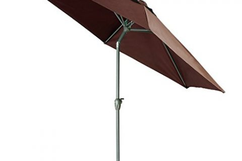 9 Ft Outdoor Table Aluminum Patio Umbrella Market Umbrella with Push Button Tilt and Crank,Garden Large umbrella,Ribs Coffee